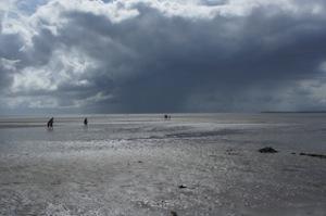 Zwischen den Nordseeinseln Pellworm und Nordstrand liegen die Reste von Rungholt. Eine Wattwanderung führt dorthin.  Foto (c) Kinderoutdoor.de