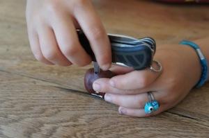 Bohrn to be a alive! Beim Basteln mit einer Kastanie erlebt Ihr selbst, wie wichtig ein gutes Taschenmesser ist.  foto (c) kinderoutdoor.de