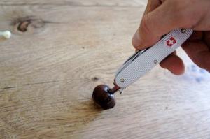 Mit der Ahle vom Taschenmesser oder einem dicken Nagel durchbohrt Ihr jede einzelne Kastanie. Foto (c) kinderoutdoor.de