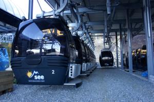 Die neue Versingbahn wird mit 2.100 Meter Länge und 500 Meter Höhenunterschied die längste und stärkste Bahn im Skigebiet See. Pro Stunde befördert die Umlaufbahn in 8er Gondeln 1.500 Personen zur Bergstation. Copyright: Bergbahnen See