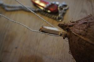 Nun die Schnur durch das Loch im Stöckchen fädeln. Mit ihr hängen wir die Futterglocke auf.  foto (c) kinderoutdoor.de