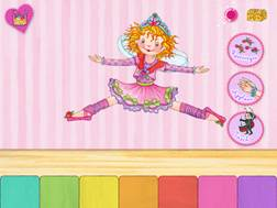 """Echte Fans wissen es: Das hier ist kein Tanzmariechen aus dem Kölner Karneval, sondern Prinzessin Lillifee. Sie tanzt auf der neuen App """"Prinzessin Lillifee Ballettzauber- Bildergeschichte, Tanzspiel, Stickerzauber"""" Foto (c) blue ocean ag"""
