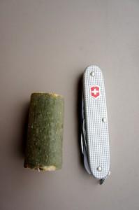 Hier ist alles was wir brauchen um einen Pilz zu schnitzen.  Foto (c) kinderoutdoor.de