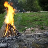 Wenn das Feuer runtergebrannt ist, kommt der Teig für das Fladenbrot in die heiße Asche. Eine Aktion bei der die Kinder begeistert dabei sind.   Foto (c) kinderoutdoor.de
