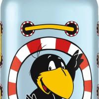 Zum zweiten Rabe Socke Film gibt es drei Sigg Flaschen mit dem Unglücksvogel als Motiv.   Foto (c) Sigg.com