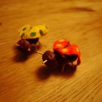 Mit Kastanien basteln bringt tolle Ergebnisse hervor, wie diese beiden Marienkäfer.  Foto (c) kinderoutdoor.de