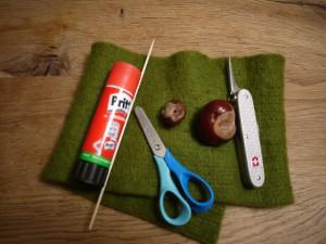 Basteln mit Kastanien: Aus diesen Materialien entsteht ein Marienkäfer. foto (c) kinderoutdoor.de