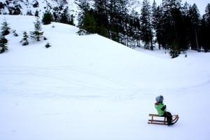 Winterurlaub mit Kindern. Schlittenfahren wie am Imberger Horn im Allgäu gehört unbedingt dazu. Foto (c) kinderoutdoor.de