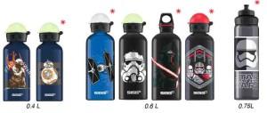 Sigg macht Star Wars Fans glücklich. Die praktischen Aluflaschen aus der Schweiz gibt es mit sieben verschiedenen Star Wars Motiven. Die mit dem roten Stern gekennzeichnet sind, kamen neu zum siebten Teil heraus.  foto (c) Sigg AG
