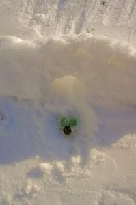 In diese Löcher sollen die Murmeln fallen, wenn sie den Weg durch die Bögen im Schnee gefunden haben.  Foto (c) kinderoutdoor.de