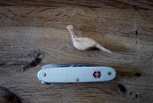 Nun schnitzen wir mit den Kindern den Fasan in seinen Details. Nehmt die große und kleine Klinge vom Taschenmesser her.  Foto (c) kinderoutdoor.de