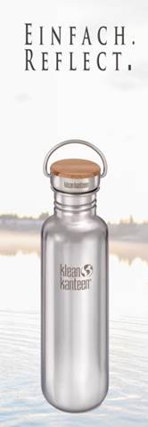 Klean Kanteen Reflect. Weniger ist mehr. Mit nur drei Materialien kommt diese puristische Trinkflasche aus.   foto (c) kinderoutdoor.de