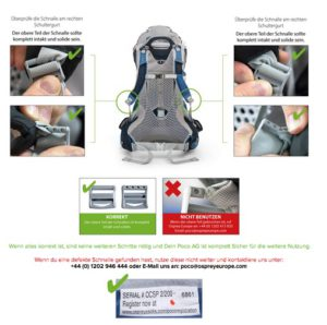 Kindertragen Osprey Poco AG können Schäden an den Schnallen haben. Bitte nicht mehr benutzen und kontrollieren.  Foto (c) Osprey