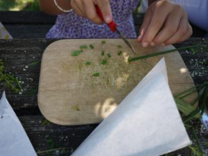 Kräutersalz mit Kindern selbst machen ist furchtbar einfach. Schneidet die Kräuter klein her.  foto (c) kinderoutdoor.de