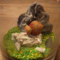 Basteln mit Muscheln: Fertig ist unser Aquarium. Füttern und Wasser nachfüllen erübrigt sich.   Foto (c) kinderoutdoor.de