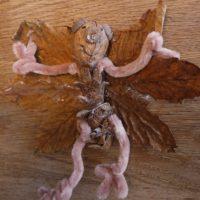 Basteln im Herbst mit den Kindern und Naturmaterialien. Fertig ist die Fledermaus.   foto (c) kinderoutdoor.de