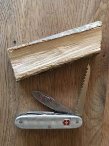 Schnitzen mit Kindern. Das ist alles was Ihr braucht, um ein Eichhörnchen zu schnitzen.  foto (c) kinderoutdoor.de