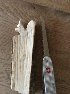 In unserer Schnitzanleitung schnippeln wir mit dem Taschenmesser den Schwanz vom Eichhörnchen.  foto (c) kinderoutdoor,de