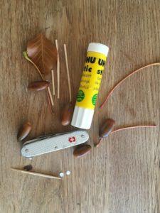 Basteln mit Eicheln: Hier seht Ihr alles was für unseren lustigen Dackel nötig ist.  foto (c) kinderoutdoor.de