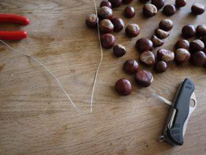 Beim Basteln mit den Kastanien knickt Ihr den Draht in der Mitte.  foto (c) kinderoutdoor.de