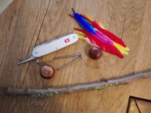 Basteln mit Kastanien: Aus diesen Naturmaterialien basteln wir ein Windrad. (c) kinderoutdoor.de