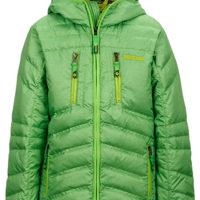 Marmot Daunenjacke; Grünes Wunder! Das Boy's Hangtime Jacket wiegt weniger als 500 Gramm und ist mit einer 700er Daune gefüllt.   foto (c) marmot