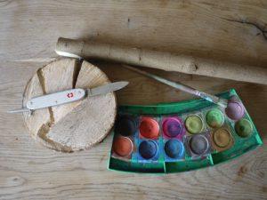 Schnitzen mit Kindern: Hier seht Ihr das Material für den Fliegenpilz. foto (c) kinderoutdoor.de