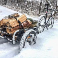 Burley Fahrradanhänger auch im Schnee mobil dank der 16x3 Push Button Reifen. Diese gibt es auch für alle Burley Kinderanhänger.  foto (c) burley