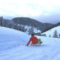 Schlittenfahren mit Kindern in der Wildschönau: Fünf Kilometer geht es flott hinunter bis nach Thierbach.   foto (c) kunz pr