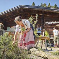 Wandern mit Kindern zur Hündeleskopfhütte im Allgäu. Fleisch und Würste auf den Tellern vermisst hier niemand.  Foto ©Bayern.by-Gert Krautbauer