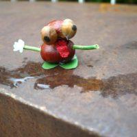 Ein lustiger Bursche ist unser Frosch, den die Kinder aus Kastanien gebastelt haben.   foto (c) kinderoutdoor.de