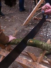 Bei der Schatzsucher Holzfäller zersägen die Kinder auf Zeit einen dickeren Ast.   foto (c) kinderoutdoor.de