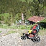 Wanderung mit Kinderwagen zur Bärgunthütte im Kleinwalsertal: Kühe, Knilche und Klasse Aussicht!