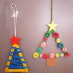 Kinder basteln Weihnachtsschmuck mit dem Taschenmesser