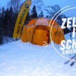 Kinder Outdoor Wissen zelten im Winter