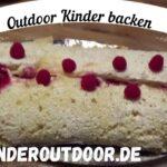 Outdoor Kinder backen eine Biskuitrolle